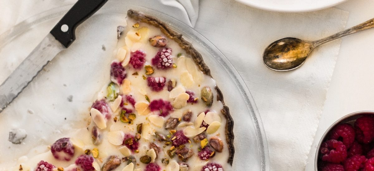 Raspberry Pistachio & White Chocolate Tart