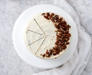 Carrot Cake with White Chocolate Cream Cheese Frosting and Pecans