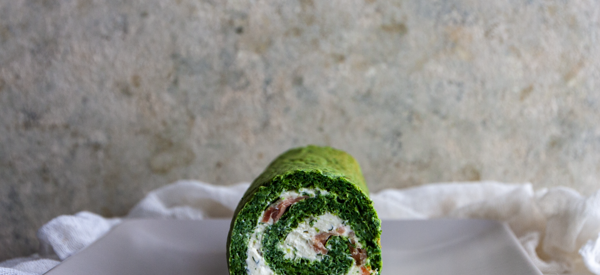 Spinach, Cream Cheese and Salmon Roulade